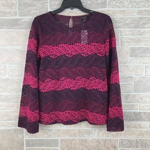 Banana Republic ombré Lace Knit Bell Sleeve Top S
